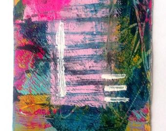ACEO ATC - Original abstract mixed media art collecting trading card Free P&P