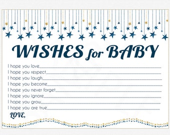 Twinkle Baby Shower, Wishes for Baby Card & Sign, Blue and gold Boy Baby Shower, Glitter Stars Wishes Boy, Printable Download Sgs0002-dbg