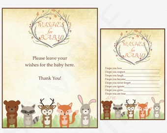 Woodland Baby Shower, Wishes for Baby Card + Sign, Woodland Animals Baby Shower, Printable Baby Shower Wish Cards Fox Instant Download WD01