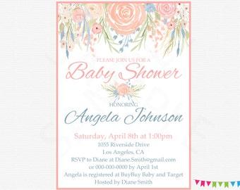 Floral Baby Shower Invitation Printable Girl Flower Baby Shower Shabby Chic Baby Shower Editable Invitation Custom Spring Watercolor SPFL