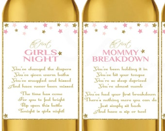 Baby Shower Wine Labels Gift New Mom Wine Gift Basket Wine Lables Pink Gold Stars New Mommy Gifts Printable Mother's Day Download MOM1 STPG