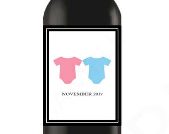 Pregnancy Announcement Twins Wine Label Pregnancy Announcement to Friends Family Aunts Sisters Printable Wine Label Custom Instant Download