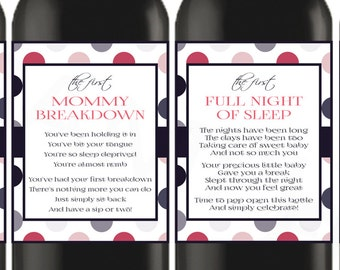 Wine Gift Ideas, New Mom Wine Labels New Mom Gift Basket Baby Shower Wine Labels Printable Wine Label Instant Download New Parents Gift MOM1