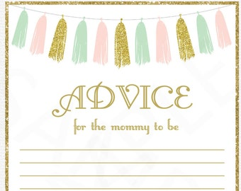 Pink Mint Gold Baby Shower Games, Advice for the Mommy to Be, Baby Shower Mom Advice Cards, Printable Baby Shower Sign, Tassels, TASPMG