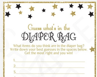 Guess What's in the Diaper Bag Black and Gold Baby Shower Diaper Bag Game Twinkle Twinkle Little Star Baby Shower Printable Boy Girl, STBLG
