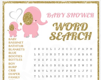 Pink Elephant Baby Shower Games, Pink and Gold Baby Shower, Word Search Game + Sign, Girl Baby Shower, Printable Baby Shower EL0004-LPG