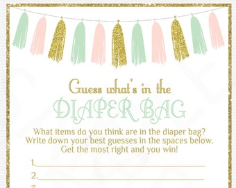 Pink Mint Gold Baby Shower, Guess What's in the Diaper Bag, Baby Shower Games, Diaper Bag Game, Baby Printables, Instant Download, TASPMG