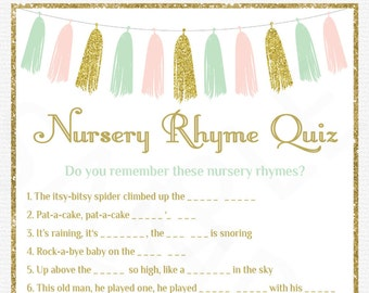 Nursery Rhyme Baby Shower Nursery Rhyme Quiz Sign Girl Etsy