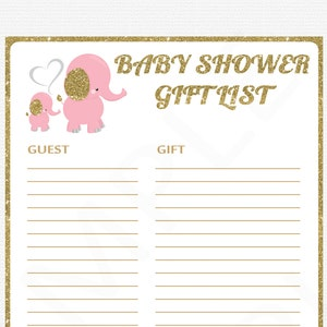 Pink And Gold Baby Shower Gift List Elephant Baby Shower Gift List Girl Baby Shower Printable Gift List Instant Download El0004 Lpg