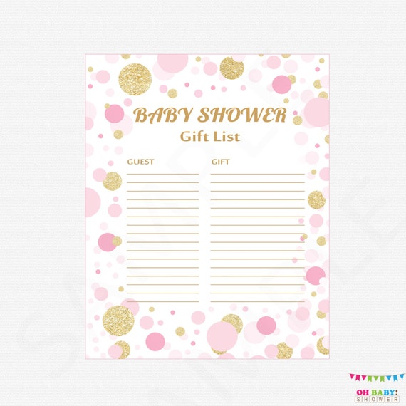 Pink And Gold Baby Shower Gift List Printable