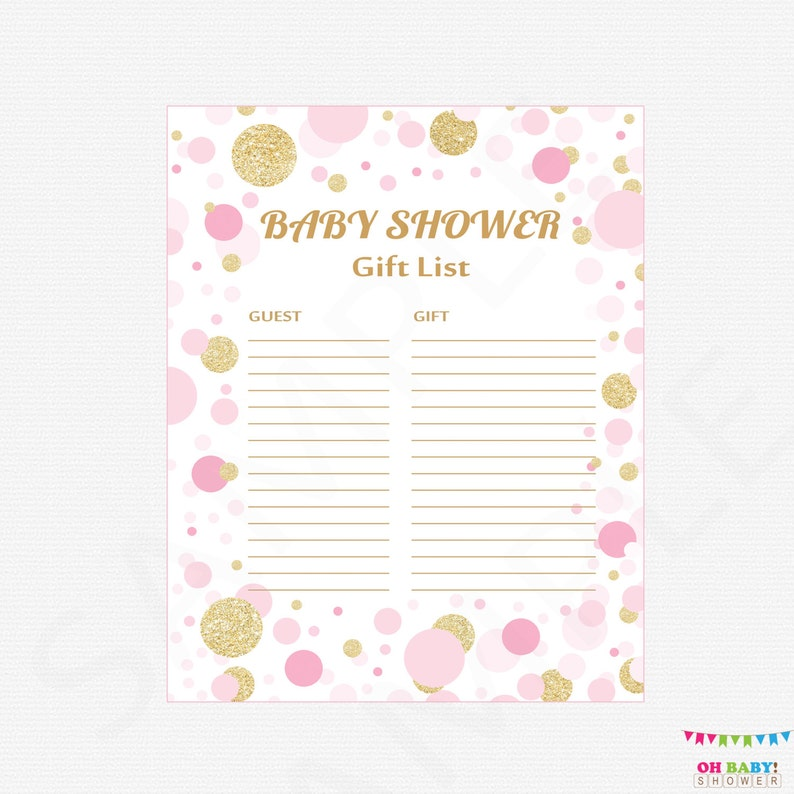picture regarding Baby Shower Gift List Printable known as Red and Gold Youngster Shower Reward Checklist - Printable Reward Record Kid Shower Presents - Woman Child Shower Reward Record / Fast Down load / CB0003-pg
