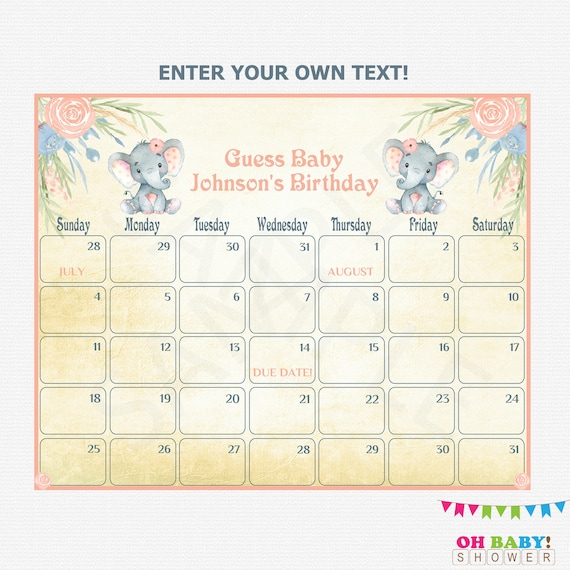 Guess The Birth Date Baby Shower Game: Baby Due Date Calendar Elephant Baby Shower Girl Guess