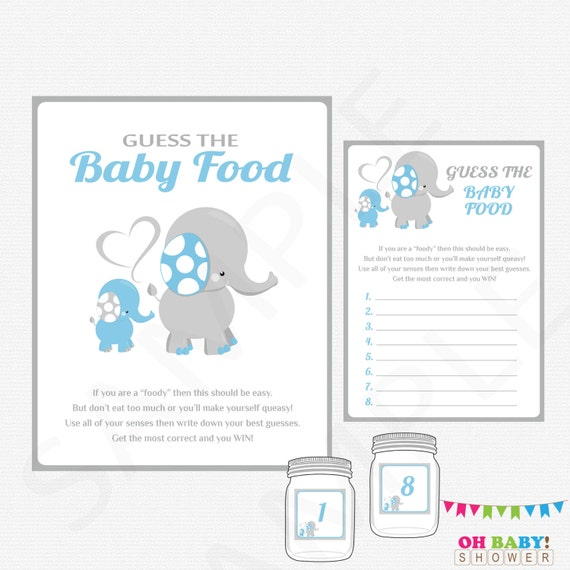 graphic about Guess the Baby Food Game Free Printable named Elephant Boy or girl Shower Game titles Boy, Bet the Kid Meals, Blue Elephant Youngster Shower Printables, Elephant Little one Meals Video game, Immediate Obtain, ELLBG