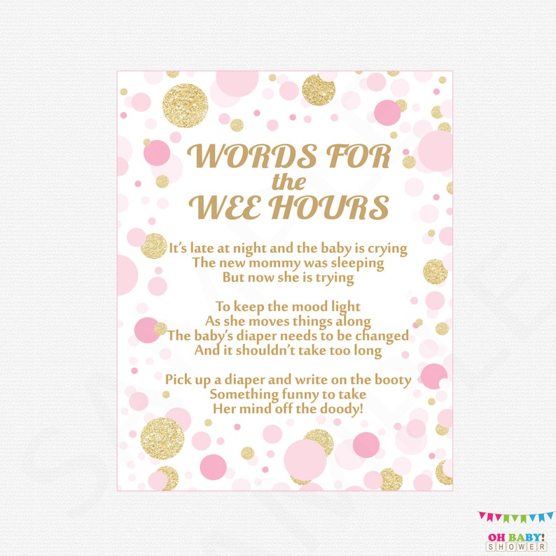 photograph regarding Words for the Wee Hours Free Printable named Words and phrases for the Wee Hrs, Late Night time Diapers, Diaper Video game Signal, Purple Gold Kid Shower Game titles, Printable Child, Red Gold Confetti, CB0003-pg