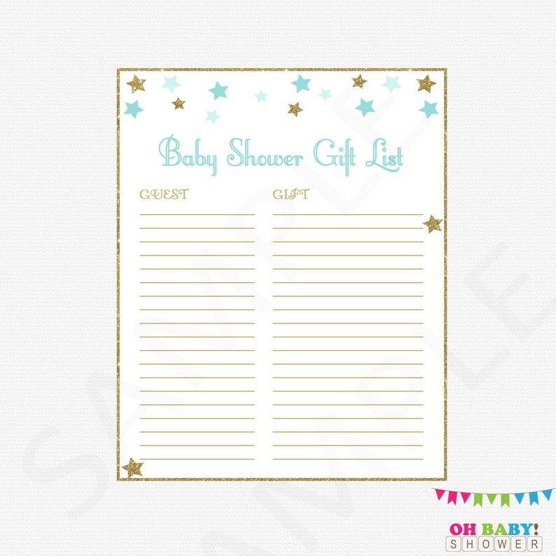 picture about Printable Baby Shower Gift List identify Child Shower Present Checklist Blue and Gold Twinkle Twinkle Minor Star Little one Shower Boy Distinctive Kid Shower Quick Down load Printable Gold Star STBG