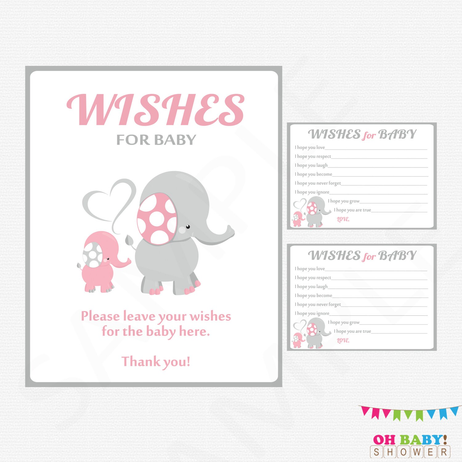 Gianna S Pink And Gray Elephant Nursery Reveal: Pink And Gray Elephant Baby Shower Girl Baby Shower Wishes