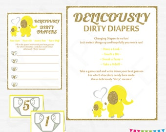 Yellow Elephant Baby Shower, Dirty Diapers Baby Shower Game, Elephant Baby Shower Game, Chocolate Diaper Game, Guess Sweet Mess, EL0004-yg