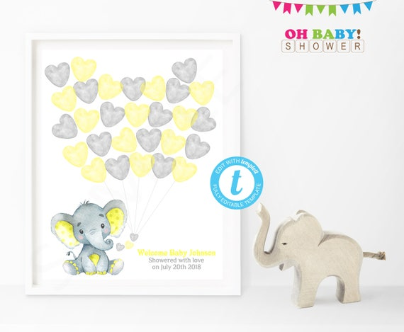 Guest Book Template Yellow Elephant Baby Shower
