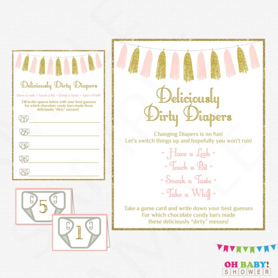 Pink Gold Baby Shower Game Guess The Mess Deliciously Dirty Etsy