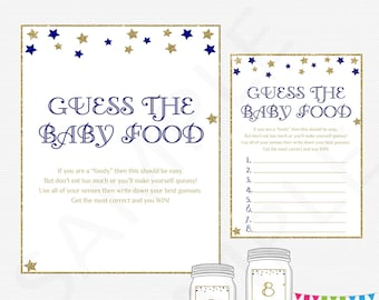 Navy Gold Twinkle Twinkle Baby Shower Games Boy, Guess the Baby Food, Printable Baby Shower Food Game, Download, Baby Food Guess Game, STNG