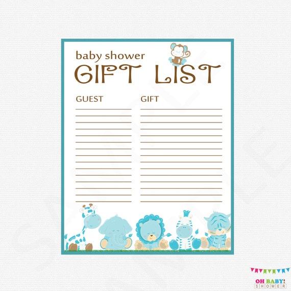 Safari Baby Shower Gift List Printable
