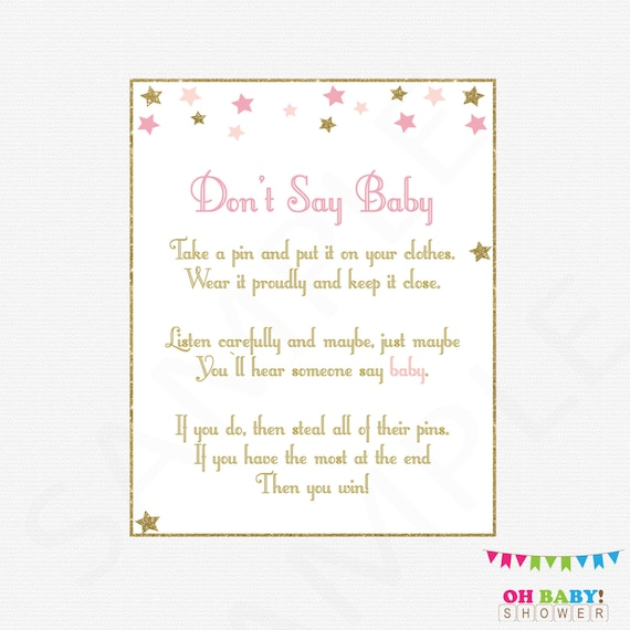 graphic about Don T Say Baby Printable called Dont Say Child, Twinkle Twinkle Small Star Youngster Shower