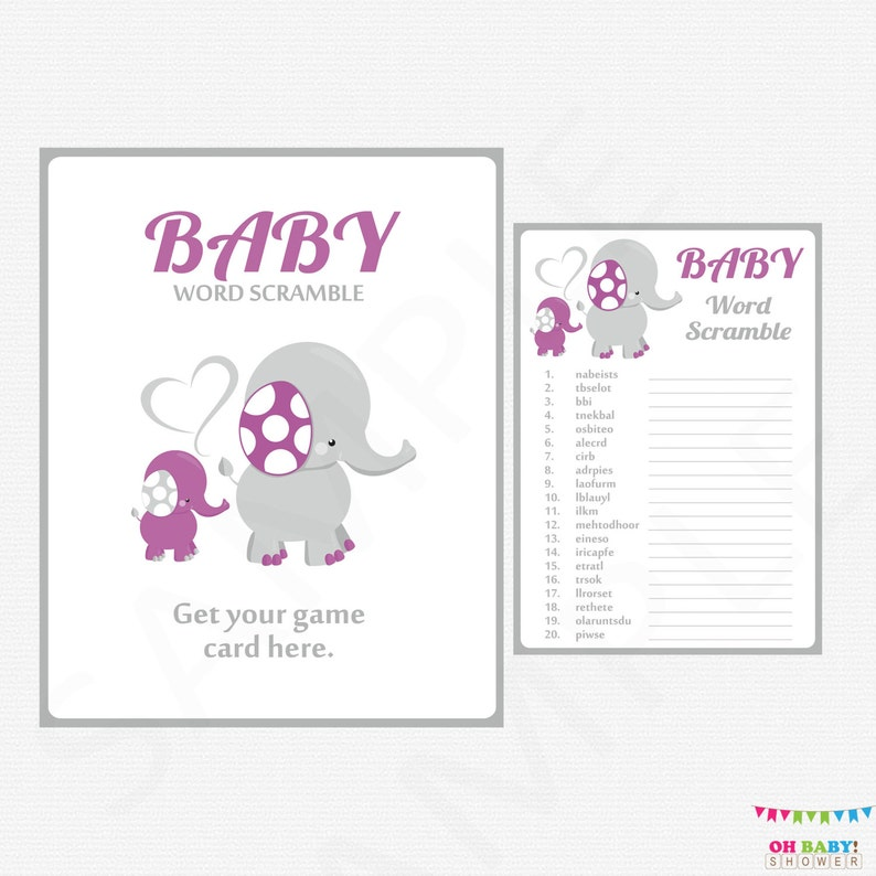 photo regarding Printable Baby Word Scramble named Elephant Youngster Shower Online games, Pink and Grey Little one Term Scramble Activity, Child Shower Lady, Prompt Obtain, Printable Child Shower Obtain ELPG