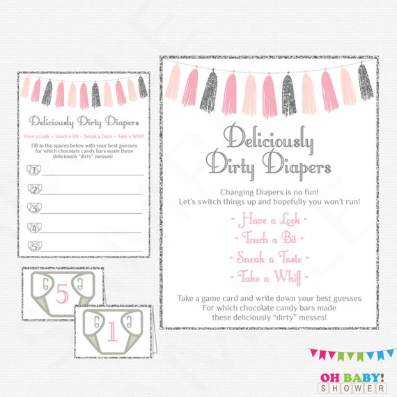 Pink And Silver Baby Shower Game Guess The Sweet Mess Etsy