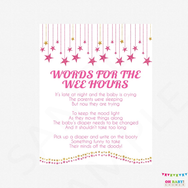 picture about Words for the Wee Hours Free Printable identify Late Evening Diapers Crimson Gold Youngster Shower Recreation - Phrases for the Wee Hrs Diaper Sport Signal Glitter Celebrities Immediate Obtain Printable SGS000-pg