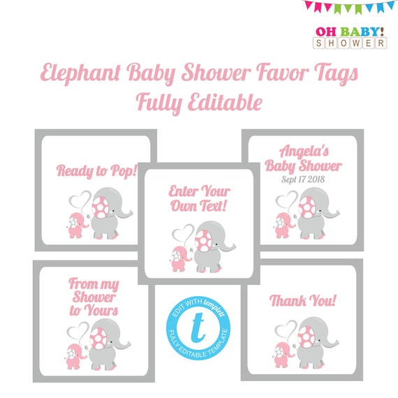 Editable Favor Tags Pink And Gray Elephant Baby Shower Etsy