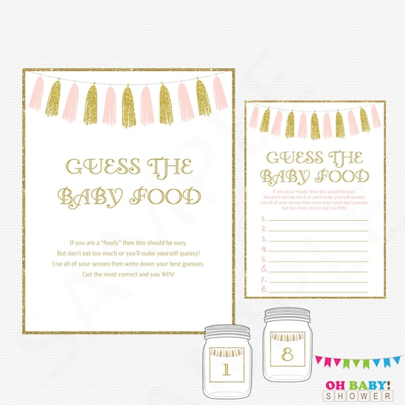 Pink And Gold Baby Shower Games Guess The Baby Food Baby Etsy