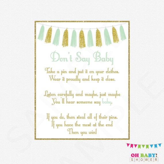 Baby Shower Clothes Pin Game Delectable Don't Say Baby Mint And Gold Baby Shower Game Clothes Pin Etsy