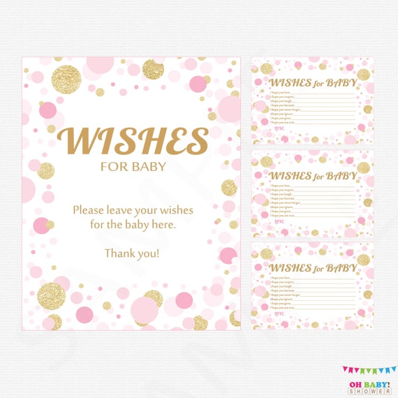 Pink And Gold Baby Shower Girl Wishes For Baby Girl Card Etsy