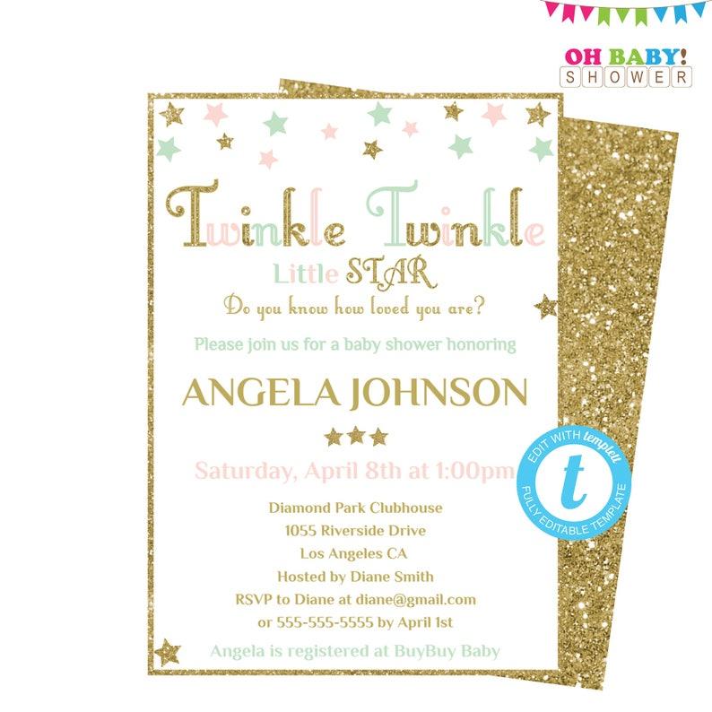 Twinkle Little Star Baby Shower Invitation Template Pink Mint Gold Stars Editable Boy Girl Instant STPMG