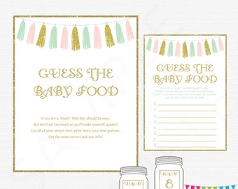 Pink Mint Gold Baby Shower Games, Guess the Baby Food, Baby Shower Printables, Baby Food Game, Instant Download, Baby Food Guess Game TASPMG