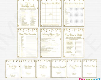 Baby Shower Games Bundle, Twinkle Twinkle Little Star Baby Shower Games Package, Gold Baby Shower Games, Baby Shower Signs, Download, STGG