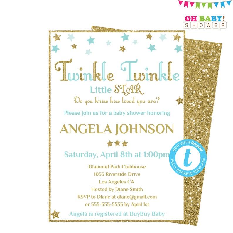 Baby Shower Invitation Template Boy Twinkle Twinkle Little Etsy