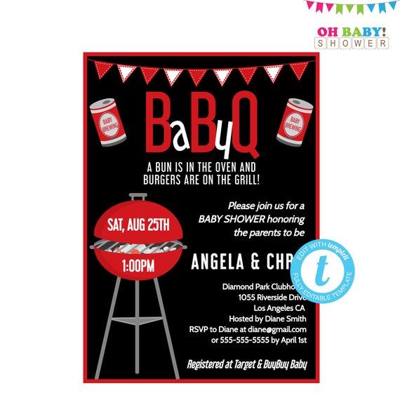baby bbq invitation babyq invitations backyard bbq baby etsy