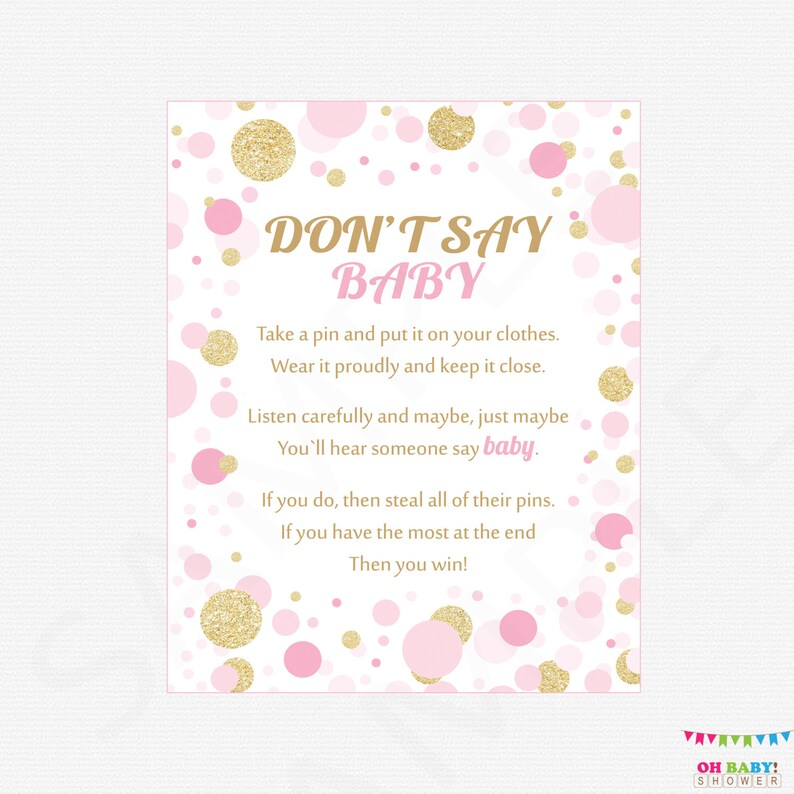photograph relating to Don't Say Baby Printable named Dont Say Youngster, Printable youngster shower game titles, child shower indicator, 8x10, crimson gold, boy or girl shower fast obtain, kid woman, decor CB0003-pg