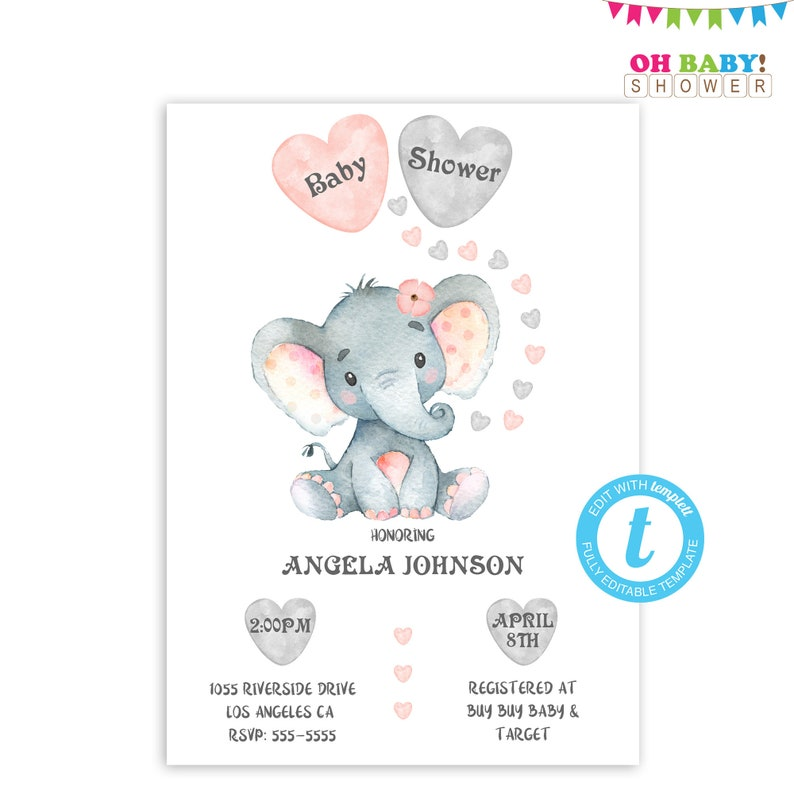 picture regarding Printable Elephant Template called Elephant Youngster Shower Invitation Lady, Editable Invitation Boy or girl Shower, Elephant Printable, Elephant Template Woman Red Invitations Down load ELWP