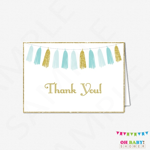 Blue Gold Thank You Cards Baby Shower Thank You Cards Boy Etsy
