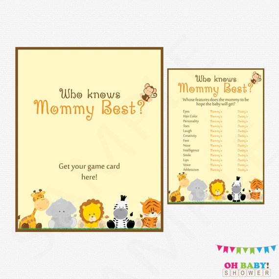 Who Knows Mommy Best Baby Shower Games Printable Baby Etsy
