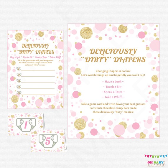Pink Gold Baby Shower Game Guess The Mess Deliciously Etsy