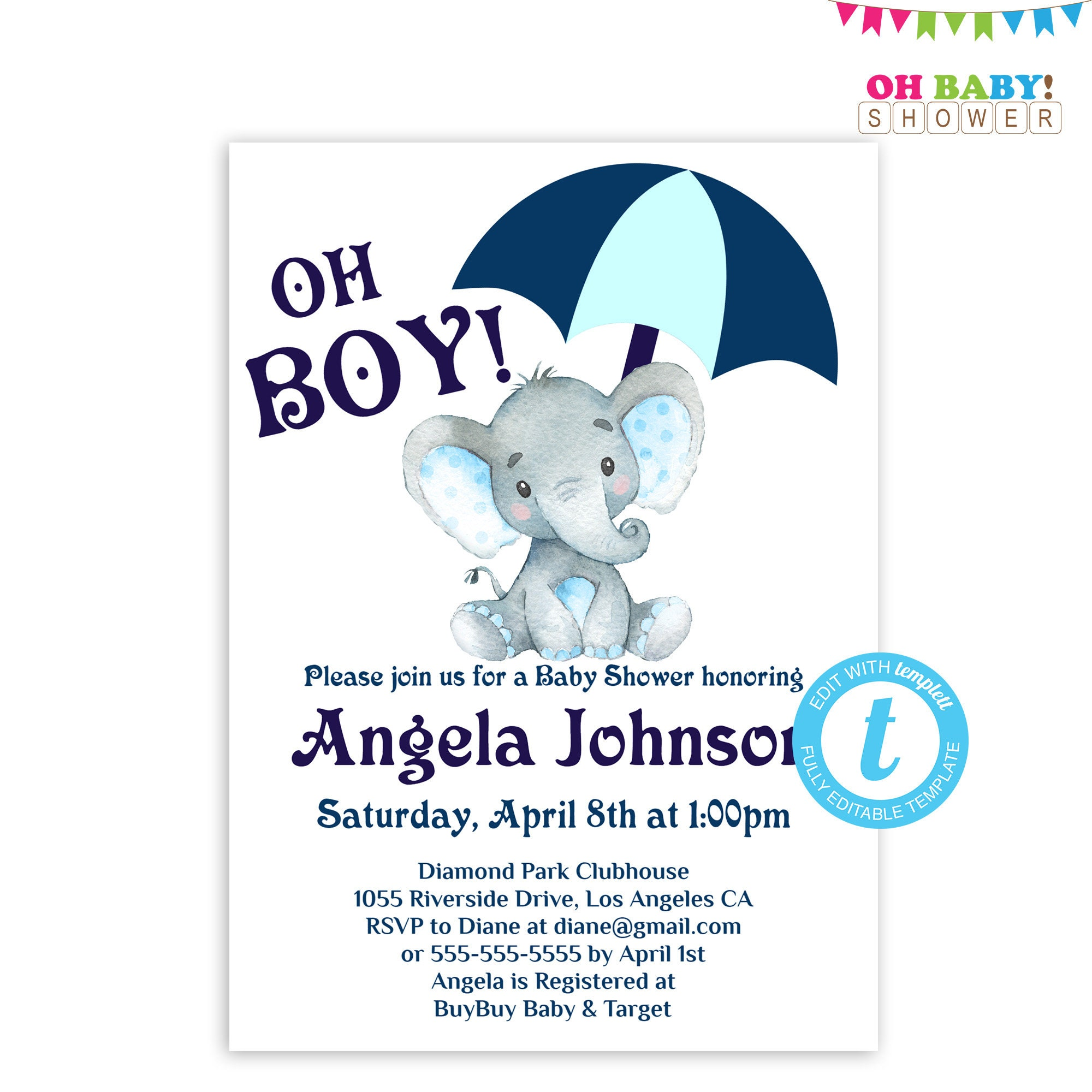 Boy Elephant Baby Shower Invitation Umbrella Baby Shower Etsy