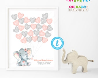 Guest Book Alternative, Elephant Baby Shower Guest Book, Guest Sign in Baby Shower, Watercolor, Printable Guest Book Template Pink Gray ELWP