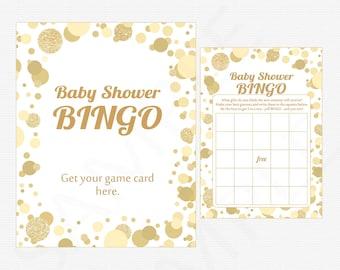 Baby Shower Bingo, Gold Baby Shower Games - Bingo Game + Sign, Printable Baby Shower Game, Boy Girl Baby Shower, INSTANT DOWNLOAD CB0003-g