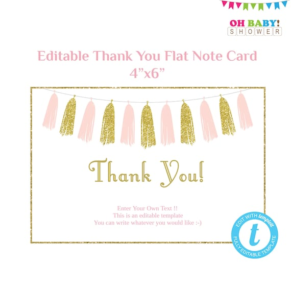 Thank You Card Template Flat Note Card Editable Card Pink