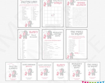 Pink grey baby girl elephant, baby shower games package, elephant baby shower girl, elephant baby shower printable, pink elephant, EL0005-lp