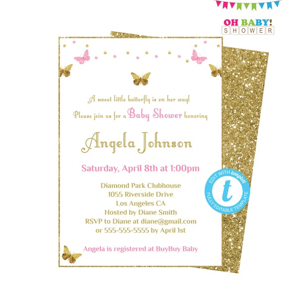 Butterfly Baby Shower Invitation Girl Pink And Gold Baby Etsy