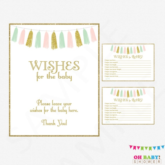 Wishes For Baby Pink Mint Gold Baby Shower Girl Baby Shower Etsy